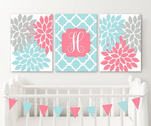 Coral Aqua Nursery Wall Art, Baby Girl Decor, Coral Aqua Monogram Flowers Decor, Girl Monogram Above Crib Decor, Set of 3, Canvas or Print - TRM Design