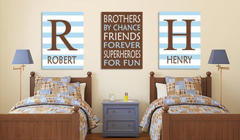 BROTHERS Wall Art, Brothers Decor, Boy Bedroom Decor Canvas or Prints Boy Quote Decor, Shared Brother Room, Friends Superheroes, Set of 3 - TRM Design