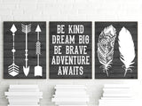 FEATHER ARROW Wall Art, Nursery CANVAS or Print, Woodland Quote Decor, Be Kind Be Brave, Dream Big, Adventure Awaits, Rustic Decor, Set of 3