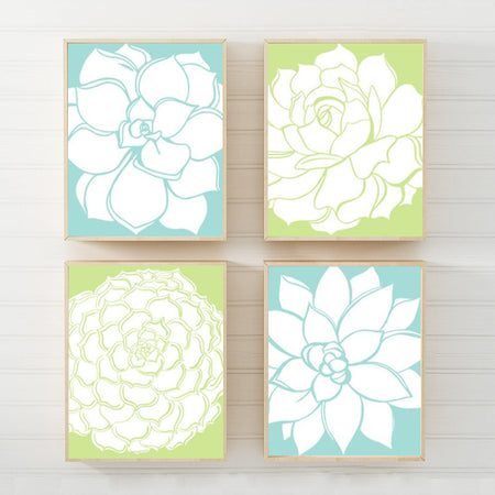 Succulent Flower Wall Art, CANVAS or Prints Floral Wall Art, Botanical Artwork Wall Decor, Flower Wall Art, Floral Bathroom Art, Set of 4