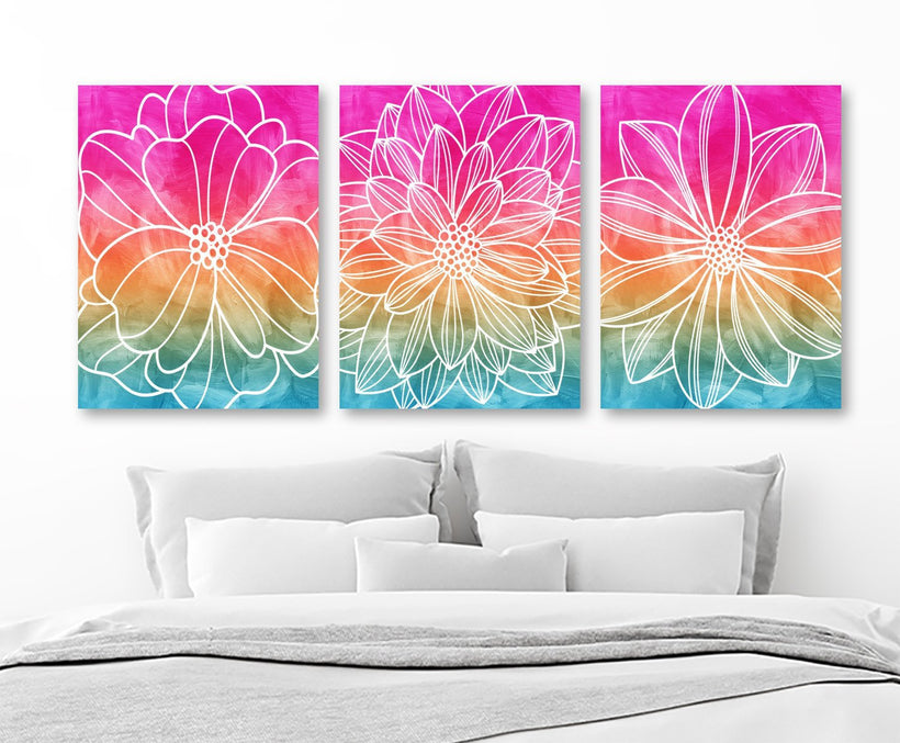WATERCOLOR Flower Art, Watercolor Wall Art, CANVAS or Print, Rainbow Flower, Abstract Wall Hanging, Bedroom Art, Bathroom Decor Set of 3