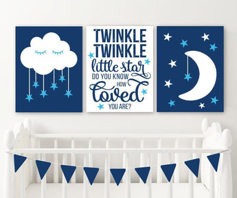 Moon Cloud Stars Nursery Decor Canvas or Print, Twinkle Twinkle Little Star Wall ART, Blue Boy Quote Nursery Artwork Set of 3 Pictures