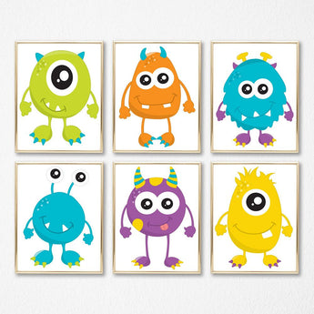 MONSTER Wall Art, Monster Decor, Monster Birthday, Monster Prints Set of 6