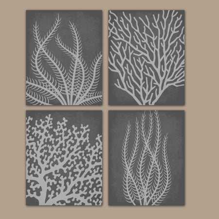 Coral Reef BATHROOM Wall Art, Coral Reef CANVAS or Prints, Coral Reef Bathroom Decor, Gray Nautical Prints, Gray Nautical Bedroom Set of 4