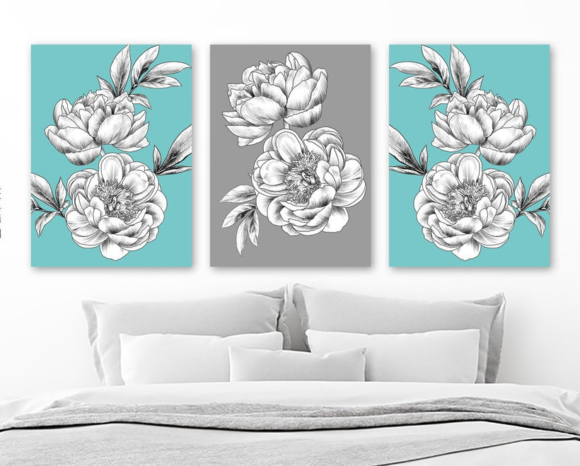 Aqua Gray Peony Flower Wall Art, Peony Flower Canvas or Print Black White Flower Bedroom Wall Decor, Aqua Flower Bathroom Decor, Set of 3 - TRM Design