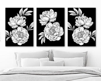 Black White Peony Flower Wall Art, Peony Flower Canvas or Print, Black White Flower Bedroom Wall Decor, Flower Bathroom Decor, Set of 3