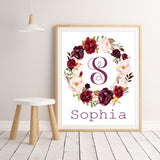 Boho Watercolor Floral Girl Name Sign, Girl Monogram Nursery Decor, Boho Floral Nursery Personalized Girl Nursery Wall Art, Canvas or Print