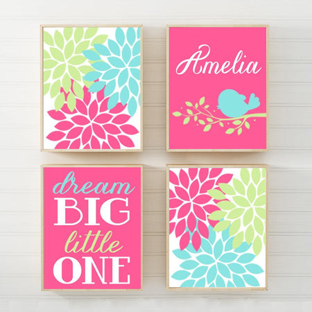 Girl Bird Nursery Wall Art, Canvas or Prints Dream Big Birdie Bird Branch Flower Burst, Baby Girl Bird Flower Name Hot Pink Lime Set of 4