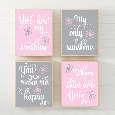 PINK GRAY You Are My Sunshine Wall Art, CANVAS or Prints, Baby Girl Nursery Decor Song Rhyme Sunshine Quote Decor, Set of 4 Gift for Girl