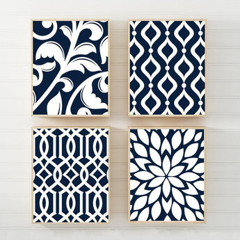 NAVY Bedroom Wall Art, Trellis Pattern Swirl Design Canvas or Prints, Navy BATHROOM Decor, Navy Kitchen Pictures, Flower Home Decor Set of 4