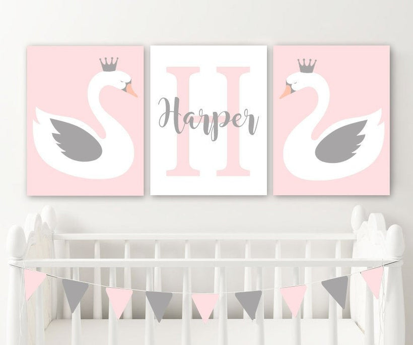 SWAN Wall ART, Swan Nursery Decor Canvas or Prints Girl Name Swan Birthday Gift, Swan Theme, Swan Lover Set of 3 Pictures