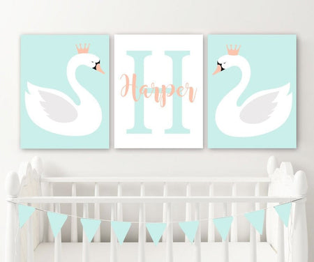 Swan Nursery Decor Canvas or Prints SWAN Wall ART, Girl Name Swan Birthday Gift, Swan Theme, Swan Lover Set of 3 Swan Pictures