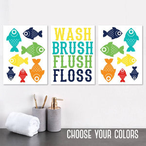 FISH Bathroom Decor, Fish Bathroom CANVAS or Prints, Kid Child Bathroom Pictures, Wash Brush Flush OCEAN Fish Bathroom Rules Decor Set of 3