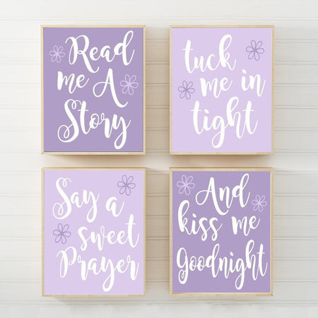 Lavender Lilac Purple Nursery Wall Art, Girl Nursery Quote CANVAS or Print Read Me A Story Kiss Me Goodnight, Girl Nursery Decor Set of 4