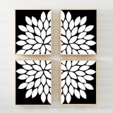 BLACK WHITE Flower Wall Art, Black White Bedroom Canvas or Prints Black White Bathroom Decor, Black White Living Room Pictures Set of 4 Art - TRM Design