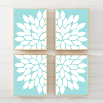 AQUA Blue Flower Wall Art, Flower CANVAS or Prints Aqua Blue Bedroom Wall Decor, Aqua Blue Bathroom Decor, Aqua Blue Living Room Set of 4 - TRM Design