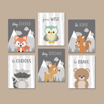 WOODLAND Animals Wall Art, Woodland Animals Quotes Nursery Decor, Baby Boy Nursery Canvas or Prints, Woodland Creatures Artwork Set of 6