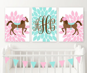 HORSE Wall Art, Horse Decor CANVAS or Prints, Cowgirl Bedroom, Flower Horse Pictures, Personalized Girl Monogram, Girl Horse Theme, Set of 3
