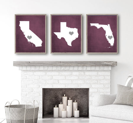 Three States Wall Decor, Family State History Wall Art, Our States CANVAS or Print, Custom Personalized Wedding Gift, Set of 3 States Art