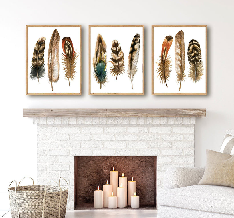 WATERCOLOR Feather Wall Art, Watercolor Feather Art, Boho Feather Watercolor Home Decor, Feather Artwork, Set of 3 Canvas or Print Pictures