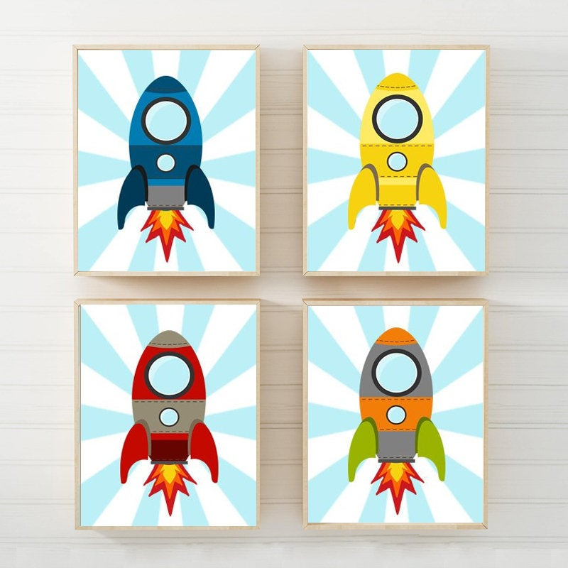 ROCKET SHIP Wall Art, Baby Boy Space Nursery Decor, Rocket Big Boy Bedroom Wall Decor Canvas or Prints Theme Outer Space Rockets Set of 4