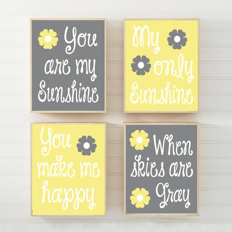 YELLOW Gray Nursery Wall Decor, You Are My SUNSHINE Wall Art, My Sunshine Canvas or Prints Yellow Gray Baby Girl NURSERY Wall Art, Set of 4