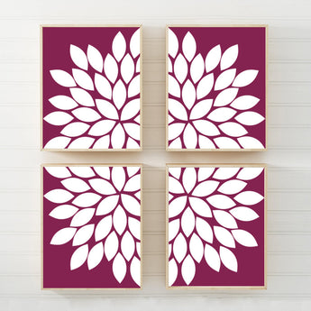 Maroon FLOWER Wall Art, Flower CANVAS or Prints, Maroon Bedroom Wall Decor, Cranberry Bathroom Decor, Set of 4, Living Room Home Decor