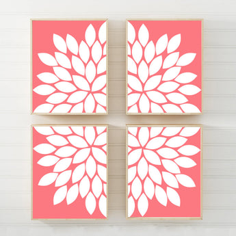 CORAL Flower Wall Art, Coral Flower CANVAS or Prints Coral Bedroom Wall Decor, Coral Bathroom Decor, Coral Flower Nursery Decor Set of 4 - TRM Design
