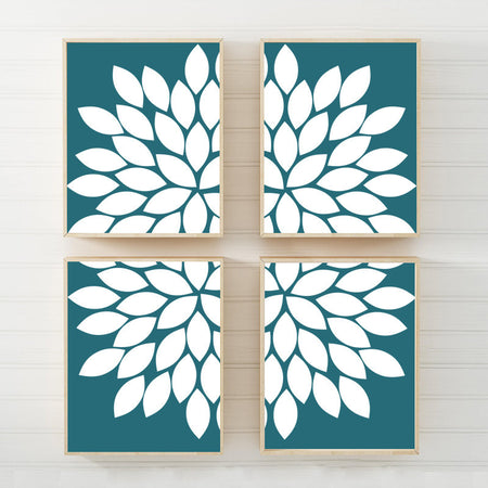 TEAL Flower Wall Art Canvas or Prints  Teal Bedroom Pictures, Teal Bathroom Decor, Flower Burst Petals, Teal Home Decor, Set of 4 Pictures