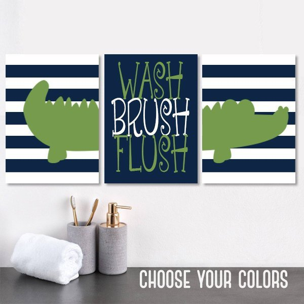 ALLIGATOR Bathroom Wall Art, Alligator Boy Brother Bathroom Decor, Kid Child Bathroom Decor, Canvas or Print Wash Brush Flush Set of 3 - TRM Design