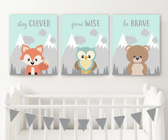 WOODLAND Animals Wall Art, Woodland Animals Quotes Nursery Decor, Baby Boy Nursery Canvas or Prints, Woodland Creatures Artwork Set of 3