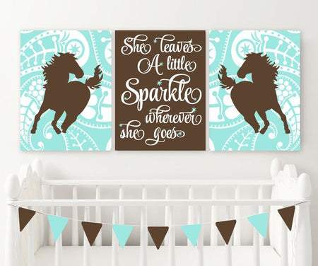 GIRL HORSE Wall Art, COWGIRL Bedroom Decor, Baby Girl Nursery Decor, Canvas or Prints She Leaves A Little Sparkle, Horse Paisley, Set of 3
