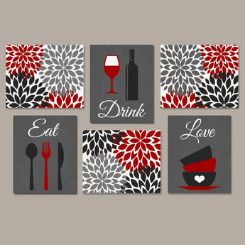 Eat Drink Love KITCHEN Wall Art, Eat Drink Love Canvas or Print Kitchen Quote Wall Decor, Dining Room Wall Decor Set of 6 Kitchen Pictures