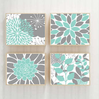 AQUA Gray Bedroom Wall Decor, CANVAS or Print Floral Wall Art, Flower Aqua Bathroom Decor, Succulent KITCHEN Wall Art, Set of 4 Home Decor - TRM Design