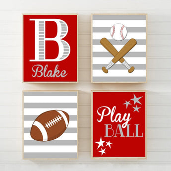 SPORTS Boy Wall Art, Sports CANVAS or Prints Red Sports Theme Decor, Football Baseball, Baby Boy Ball Nursery Decor, Set of 4 Sports Decor