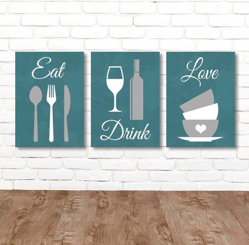 Eat Drink Love KITCHEN Wall Art, Eat Drink Love Canvas or Print Kitchen Quote Wall Decor, Dining Room Wall Decor Set of 3 Kitchen Pictures