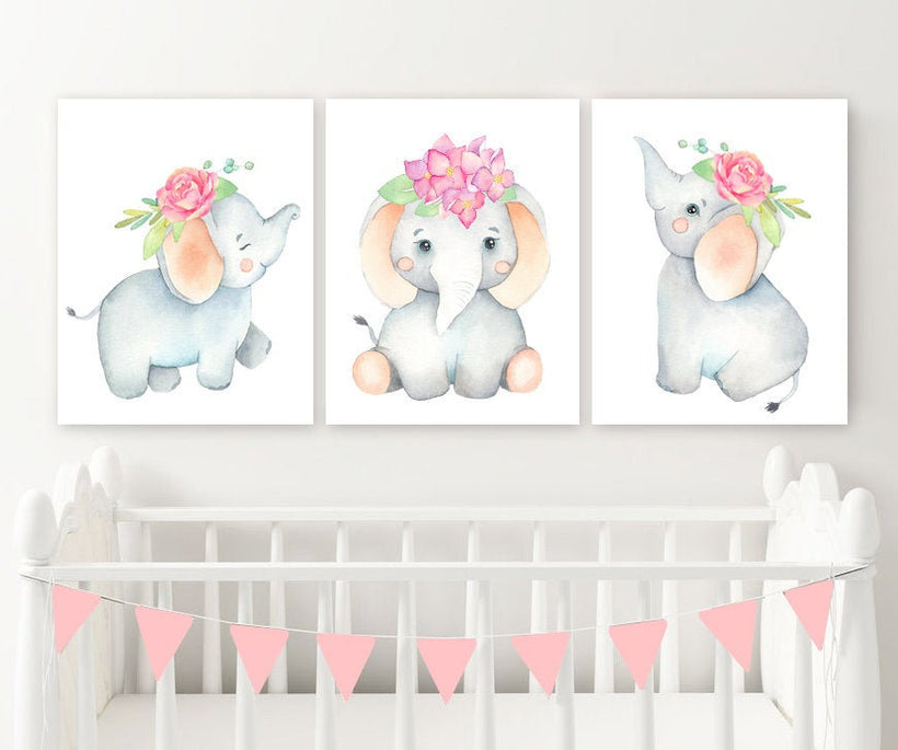 Girl Elephant Nursery Wall Decor Canvas or Print, Watercolor Baby Girl Elephant Nursery Wall Art, Watercolor Elephant Wall Decor Set of 3