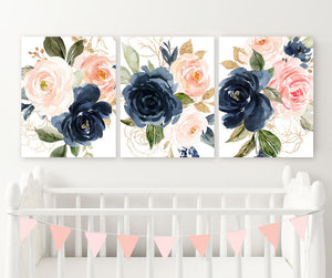 WATERCOLOR Navy Pink Floral Wall Art, Watercolor Flower Artwork, Pink Navy Girl Nursery Decor, Floral Nursery Decor Set of 3 Canvas or Print