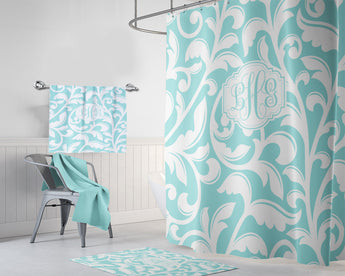 Aqua Swirl SHOWER CURTAIN, Custom MONOGRAM Shower Curtain, Personalized Bathroom Decor, Aqua Bathroom Decor, Bath Towel Rug Mat Bathroom Set - TRM Design