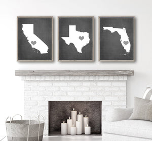Copy of Three States Wall Decor, Family State History Wall Art, Our States CANVAS or Print Custom Personalized Wedding Gift, Set of 3 States Art - TRM Design