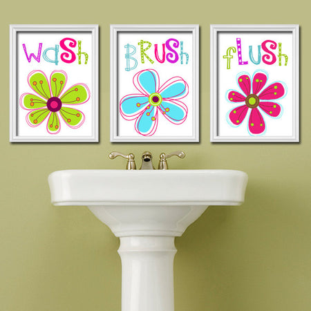 Girl Bathroom Wall Art, Girl Bathroom Decor, Colorful Floral Bathroom Rules, Bathroom CANVAS or Prints, Set of 3, Bath Quotes Wall Decor