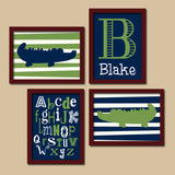 Alligator Wall Art, Alligator CANVAS or Prints Alligator Baby Boy Nursery Art, Navy Green Boy Monogram, Alphabet ABC, Set of 4 Wall Decor - TRM Design