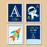 I Love You to the Moon Boy Wall Art, CANVAS or Prints Nursery Child Rocket Outer SPACE Ship Aliens Boy Name Monogram Set of 4 Nursery