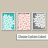 Turquoise Coral Gray Flower Wall Art, CANVAS or Prints, Flower Coral Gray Bathroom Decor, Turquoise Flower Bedroom Wall Art Decor, Set of 3