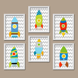 Space ROCKET Wall Art, Rocket Decor, Outer Space Decor, Outer Space Theme, Big Boy Room Pictures, Rockets CANVAS or Prints, Set of 6 Artwork