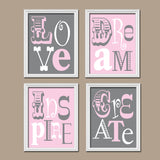 Pink Gray Nursery Love Quote Baby Girl Nursery Wall Art, Girl Bedroom Wall Decor, CANVAS or Prints Girl Nursery Decor  Set of 4 Wall Decor