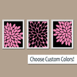 Hot Pink Black Flower Bedroom Wall Art Canvas or Prints  Hot Pink Black Flower Bathroom Wall Decor, Pink Black Flower Art Pictures Set of 3