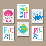 Ocean Animals BATHROOM Wall Art, Sea Animals Bathroom Decor, CANVAS or Prints, Wash Brush Flush, Kid Child BATHROOM Rules Decor, Set of 6