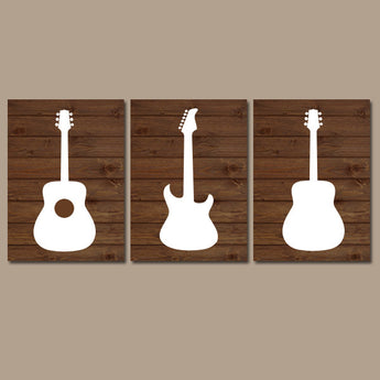 Wood GUITAR Wall Art, Music Theme Nursery Boy Bedroom Wall Decor, CANVAS or Prints Music Art Rock N Roll Rock and Roll Set of 3 Nursery