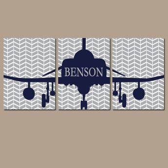 AIRPLANE Wall Art, Baby Boy Nursery Decor, Airplane Decor, AVIATION Theme Wall Decor, Personalized Boy Name Art, Big Boy Bedroom Set of 3